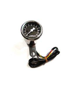 Tachometer - Electronic - RPM - Black Face - 48mm Diameter - XS650