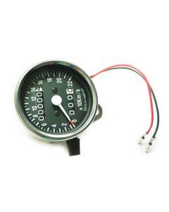 Speedometer - KPH - Black Face - Chrome Mini - 60mm Diameter