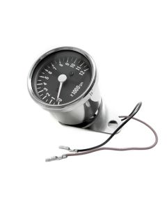 Tachometer - RPM - Black Face - Chrome Mini - 60mm Diameter - XS650