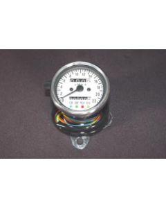 Speedometer - KPH - White Face - Chrome Mini - 60mm Diameter
