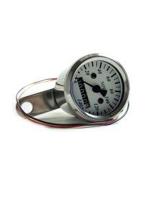 Speedometer - MPH - White Face - Chrome Mini - 48mm Diameter