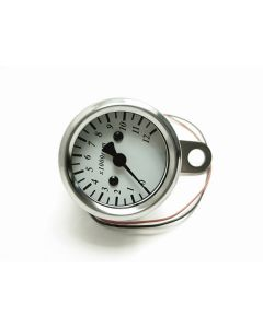 Tachometer - KPH - White Face - Chrome Mini - 48mm Diameter