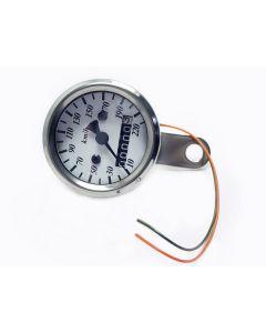 Speedometer - KPH - White Face - Chrome Mini - 48mm Diameter