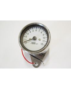 60mm Mini Chrome White Face RPM Tachometer