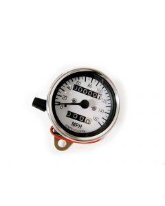 Speedometer - MPH - White Face - Chrome Mini - 60mm Diameter