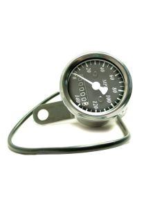 Speedometer - MPH - Black Face - Chrome Mini - 48mm Diameter