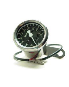 Speedometer - KPH - Black Face - Chrome Mini - 48mm Diameter