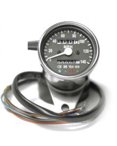 Speedometer - MPH - Black Face - Chrome Mini - 60mm Diameter