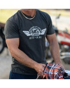 Dime City Cycles Wings Graphic T-Shirt - Charcoal