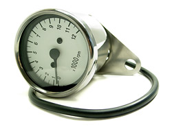 "Tachometer - Chrome Mini 60mm (2.25"") diameter white face (#03-0745)"