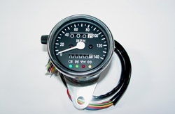 "Speedometer - Chrome Mini 60mm (2.25"") diameter MPH black face (#03-0748)"